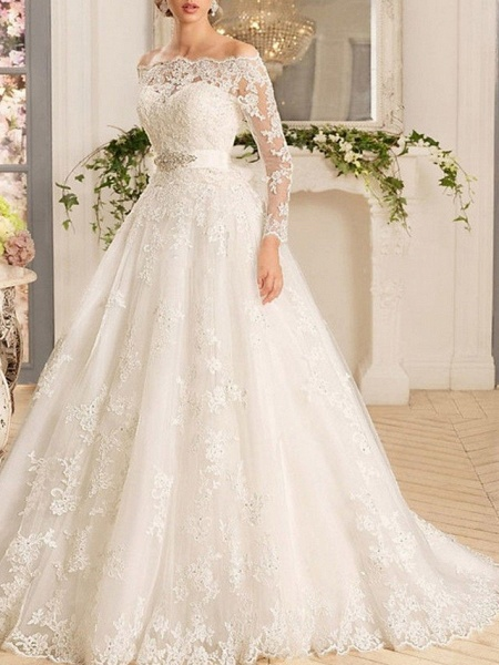 A-Line Wedding Dresses Off Shoulder Sweep \ Brush Train Tulle Regular Straps Illusion Sleeve_2