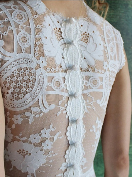 Mermaid \ Trumpet Wedding Dresses Jewel Neck Sweep \ Brush Train Lace Cap Sleeve Country_3