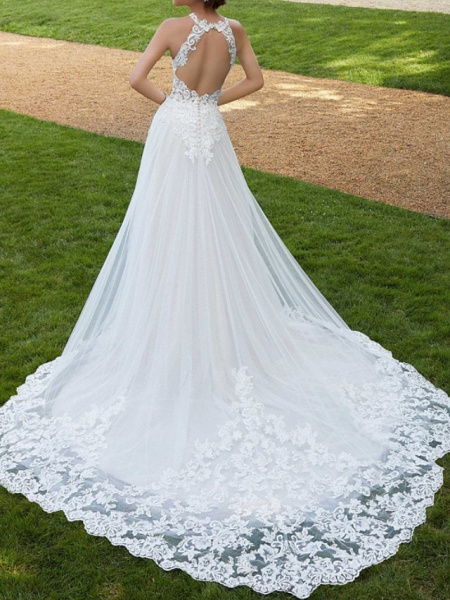 A-Line Wedding Dresses Jewel Neck Court Train Lace Tulle Sleeveless Sexy Backless_2