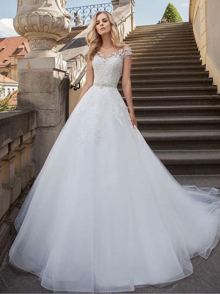 Lt7901038 Beads A-line White Boho Beach Wedding Dress_1