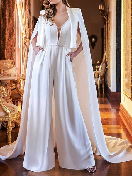 Two Piece Jumpsuits Wedding Dresses V Neck Sweep \ Brush Train Polyester Sleeveless Country Plus Size_1