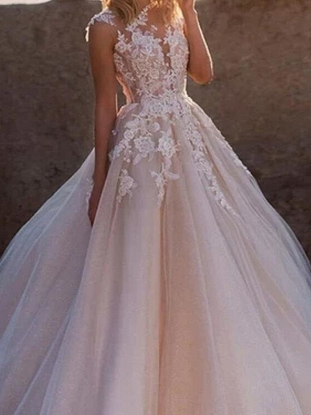 A-Line Wedding Dresses Jewel Neck Court Train Lace Tulle Sleeveless Sexy See-Through_3