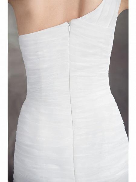 Mermaid \ Trumpet One Shoulder Court Train Organza Spaghetti Strap Wedding Dresses_5
