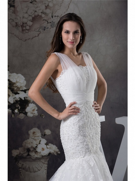 Mermaid \ Trumpet Scoop Neck Chapel Train Lace Tulle Regular Straps Wedding Dresses_4