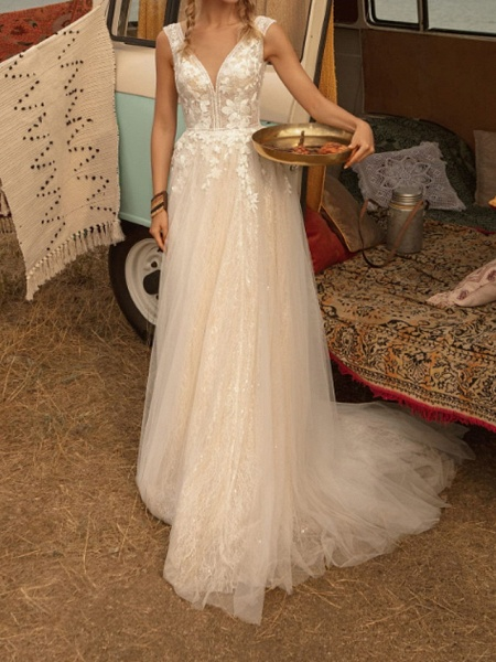 A-Line Wedding Dresses V Neck Sweep \ Brush Train Lace Tulle Jersey Sleeveless Country Plus Size_2