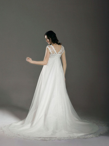 A-Line Wedding Dresses V Neck Court Train Lace Organza Regular Straps See-Through_2