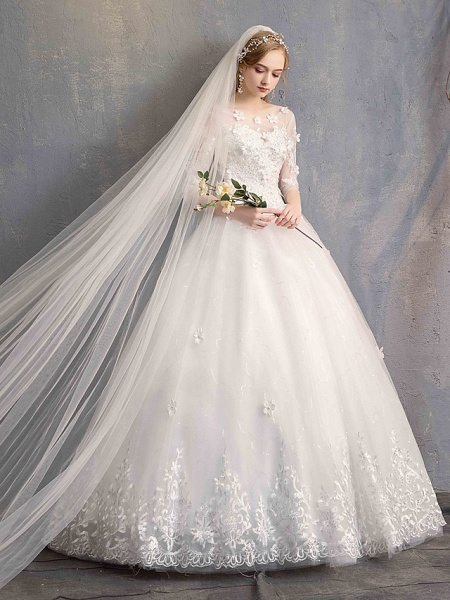 Ball Gown Wedding Dresses Scoop Neck Floor Length Lace Tulle Lace Over Satin Half Sleeve Country Vintage Illusion Sleeve_10