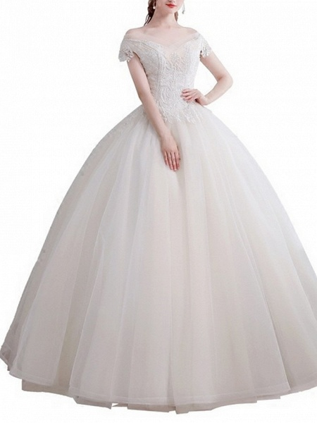 Ball Gown Wedding Dresses Off Shoulder Floor Length Lace Short Sleeve Beach_1