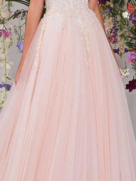 A-Line Wedding Dresses Strapless Floor Length Lace Tulle Sleeveless Country Wedding Dress in Color_3