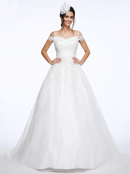 Ball Gown Wedding Dresses Off Shoulder Court Train Organza Beaded Lace Short Sleeve_1
