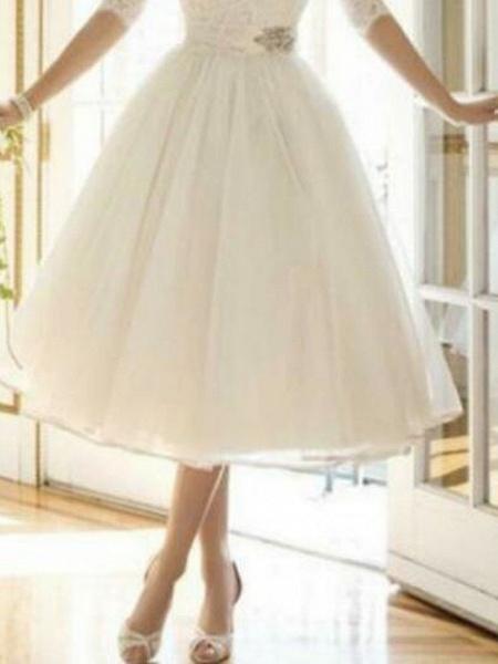 A-Line Wedding Dresses Off Shoulder Knee Length Lace Tulle Half Sleeve Country Vintage Plus Size_2
