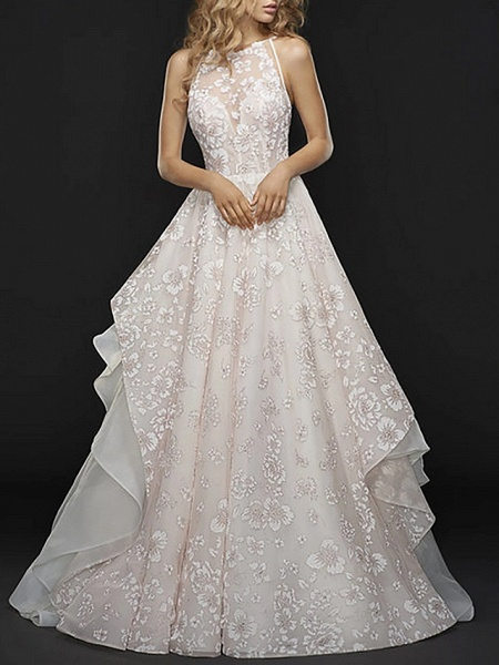 A-Line Wedding Dresses Jewel Neck Court Train Chiffon Tulle Spaghetti Strap_1