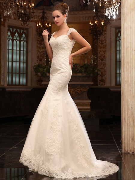 Mermaid \ Trumpet Wedding Dresses Straps Sweetheart Neckline Court Train Lace Satin Short Sleeve_2