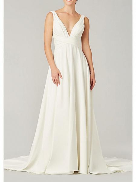A-Line Wedding Dresses V Neck Sweep \ Brush Train Chiffon Sleeveless Country Plus Size_1