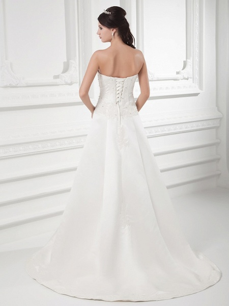 A-Line Sweetheart Neckline Court Train Satin Strapless Wedding Dresses_3