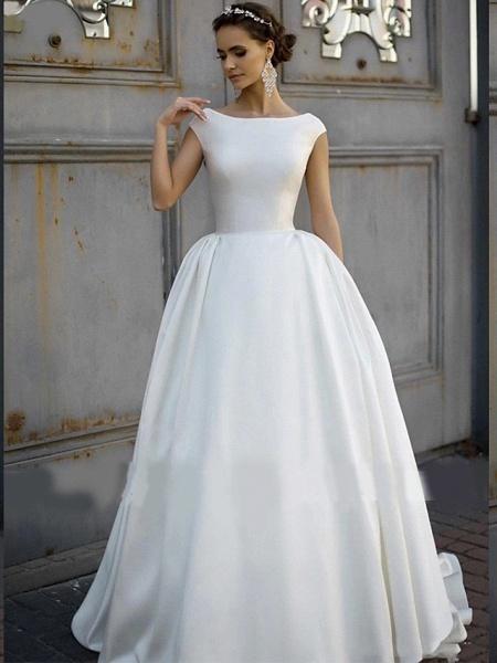 A-Line Wedding Dresses Bateau Neck Court Train Polyester Cap Sleeve_2