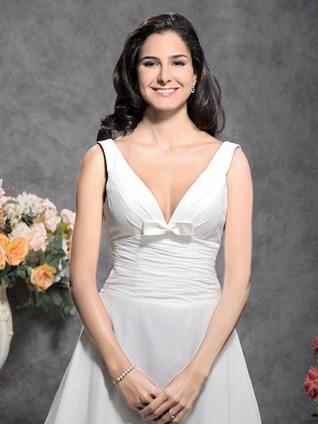 Princess A-Line Wedding Dresses Straps V Neck Court Train Chiffon Sleeveless_2
