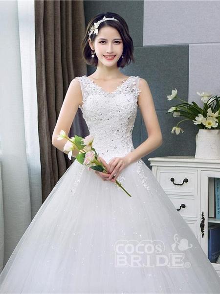V-Neck Lace Tank Sleeveless Floral Print Ball Gown Wedding Dress_5