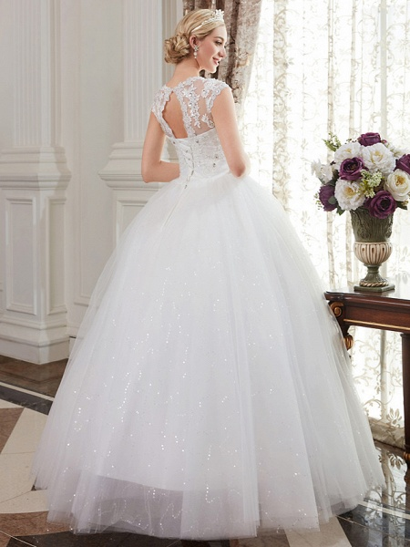 Ball Gown Wedding Dresses V Neck Floor Length Satin Lace Over Tulle Cap Sleeve Romantic Illusion Detail_3