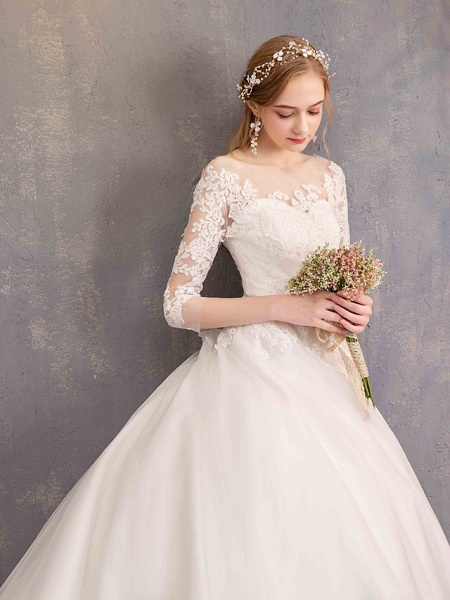 Ball Gown Wedding Dresses Jewel Neck Chapel Train Tulle Lace Over Satin Half Sleeve Illusion Sleeve_4