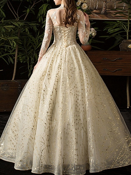 A-Line Wedding Dresses Jewel Neck Floor Length Lace Tulle Long Sleeve Formal Plus Size Illusion Sleeve_5