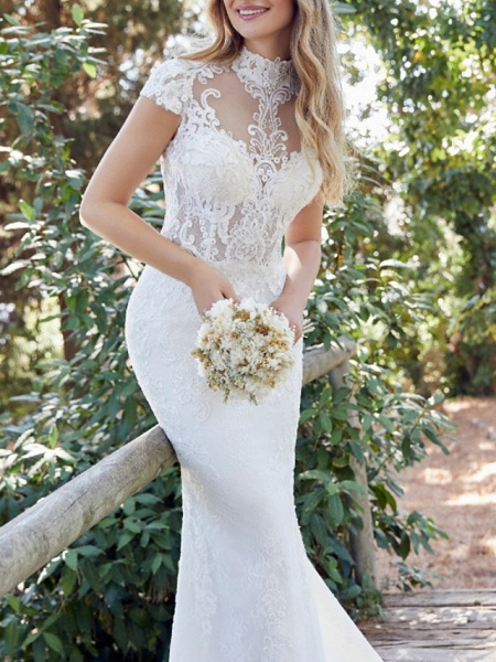 Mermaid \ Trumpet Wedding Dresses High Neck Sweep \ Brush Train Lace Satin Short Sleeve Vintage Sexy Backless_3