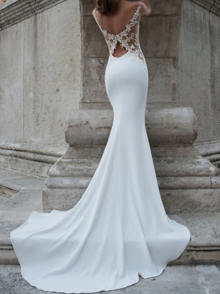 Mermaid \ Trumpet Wedding Dresses Jewel Neck Sweep \ Brush Train Lace Stretch Satin Jersey Sleeveless Country Plus Size Backless_3