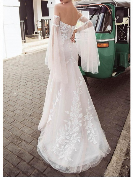Mermaid \ Trumpet Wedding Dresses Strapless Sweep \ Brush Train Lace Tulle Long Sleeve Strapless Country Plus Size_2