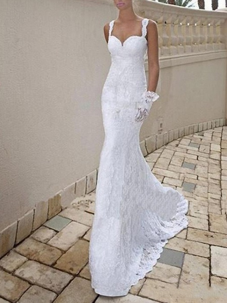 Mermaid \ Trumpet Wedding Dresses Scoop Neck Sweep \ Brush Train Lace Taffeta Chiffon Over Satin Sleeveless Sexy Plus Size_2