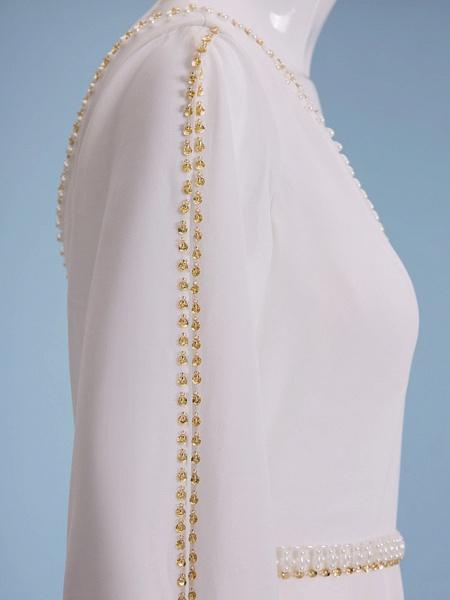 Sheath \ Column Wedding Dresses V Neck Court Train Chiffon Long Sleeve_2