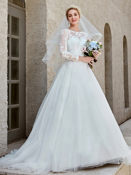 Ball Gown Wedding Dresses Bateau Neck Chapel Train Lace Tulle Long Sleeve Beautiful Back Illusion Sleeve_1