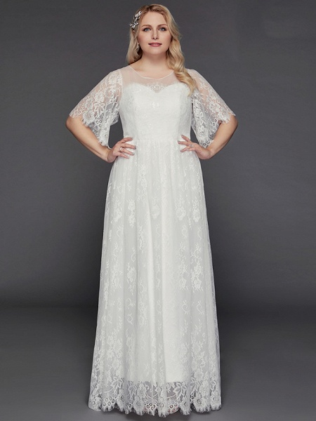 A-Line Wedding Dresses Illusion Neck Jewel Neck Floor Length Lace Tulle Half Sleeve Formal Boho Little White Dress See-Through_6