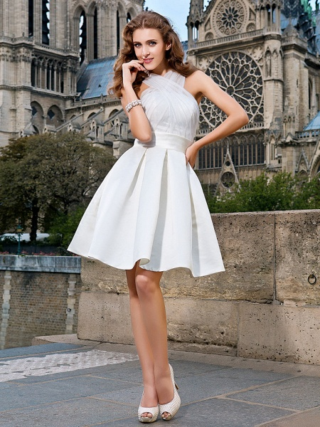 Ball Gown A-Line Wedding Dresses V Neck Knee Length Organza Satin Sleeveless Little White Dress_1