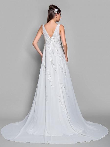 A-Line V Neck Court Train Chiffon Lace Regular Straps Glamorous Illusion Detail Backless Wedding Dresses_2