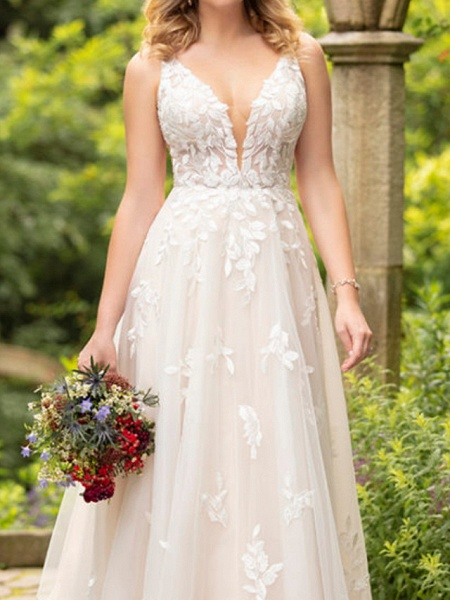 A-Line Wedding Dresses V Neck Sweep \ Brush Train Tulle Sleeveless Sexy Backless_3