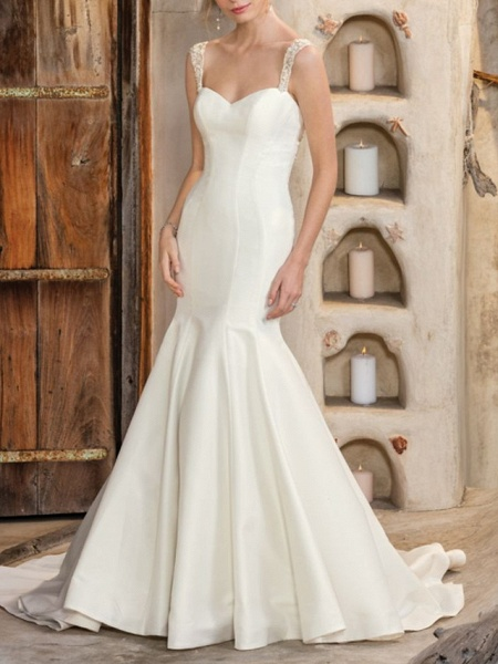 Mermaid \ Trumpet Wedding Dresses V Neck Chapel Train Matte Satin Georgette Sleeveless Sexy Wedding Dress in Color_1