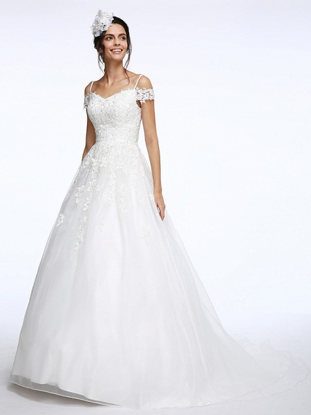 Ball Gown Wedding Dresses Off Shoulder Court Train Organza Beaded Lace Short Sleeve_6