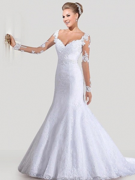 Mermaid \ Trumpet Wedding Dresses Sweetheart Neckline Court Train Lace Tulle Lace Over Satin Long Sleeve Sexy Backless Illusion Sleeve_1