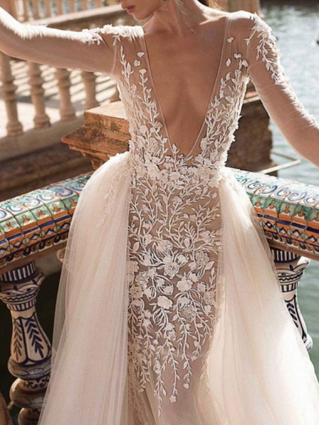 Two Piece A-Line Wedding Dresses Plunging Neck Sweep \ Brush Train Lace Tulle Sleeveless Beach Sexy See-Through Backless_4