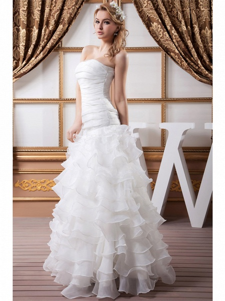 A-Line Strapless Floor Length Organza Satin Strapless Wedding Dresses_3