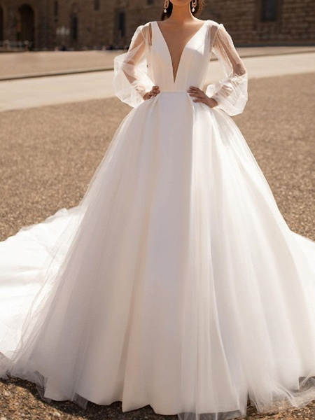A-Line Wedding Dresses Plunging Neck Court Train Tulle Chiffon Over Satin Long Sleeve Formal Plus Size Illusion Sleeve_1