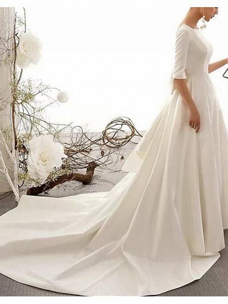 A-Line Wedding Dresses Bateau Neck Court Train Satin Half Sleeve Vintage Illusion Detail Plus Size_4