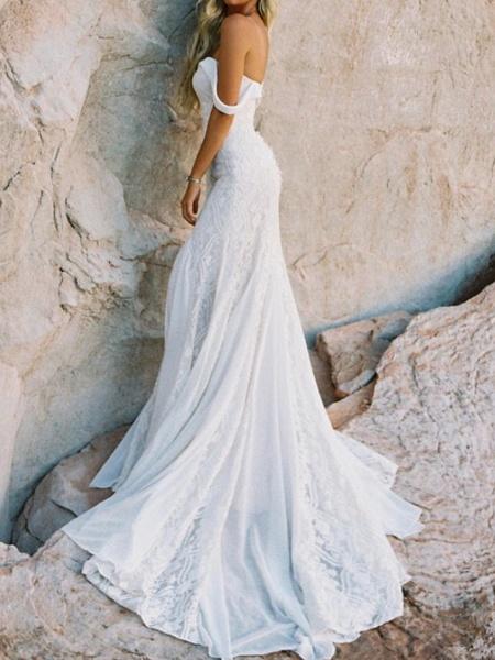 Mermaid \ Trumpet Wedding Dresses Sweetheart Neckline Sweep \ Brush Train Lace Satin Short Sleeve Vintage Sexy Backless_3