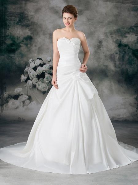 A-Line Sweetheart Neckline Court Train Satin Taffeta Strapless Wedding Dresses_1