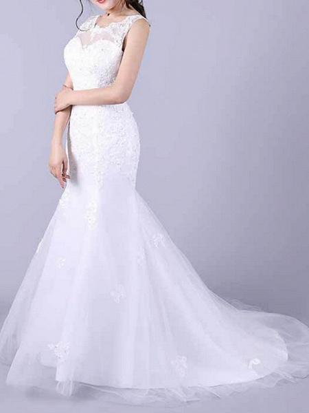 Mermaid \ Trumpet Wedding Dresses Jewel Neck Floor Length Lace Sleeveless Casual Plus Size_2