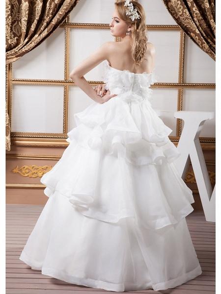 Ball Gown Strapless Floor Length Organza Satin Strapless Plus Size Wedding Dresses_4