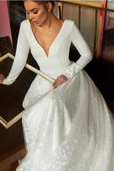 Long Sleeve V-neck Boho Bridal Gowns Satin Backless Lace Wedding Dress_4