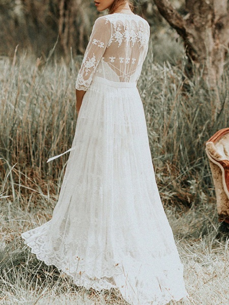 Two Piece A-Line Wedding Dresses Spaghetti Strap Sweep \ Brush Train Lace Sleeveless Boho_2