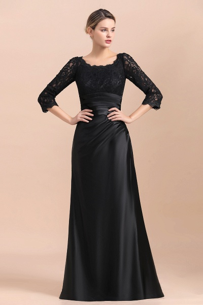 Elegant 3/4 Sleeves Black Satin Lace Ruffles Mother of Bride Dress_4