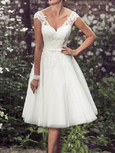 A-Line Wedding Dresses V Neck Tea Length Lace Tulle Cap Sleeve Vintage Plus Size_1